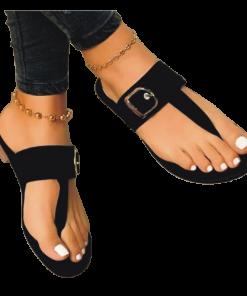 Ladies Suede Casual Flat Slippers-black